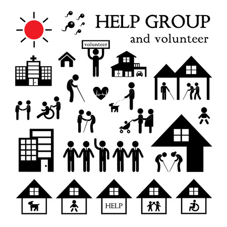 disabled person: volunteer for non profit social service symbol set Illustration