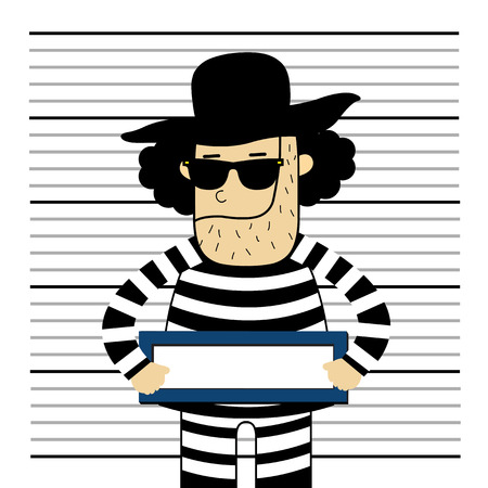 drug dealer: Prisoner cute vector cartoon style