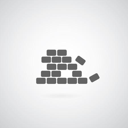 paredes de ladrillos: Icono de ladrillo sobre fondo gris Foto de archivo