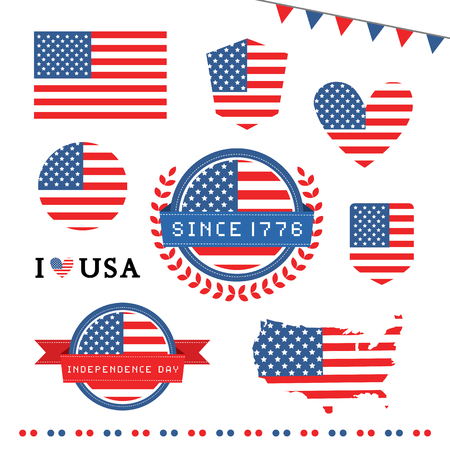 president of the usa: vector tag american flag for independence day Stock Photo