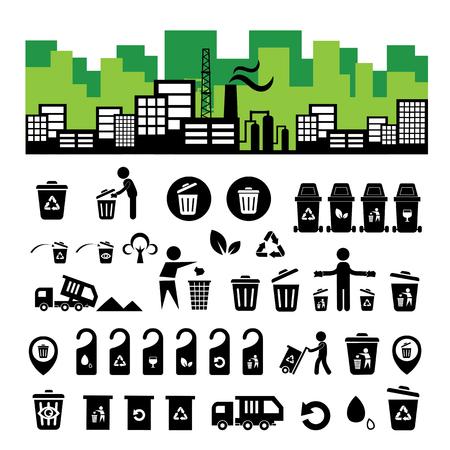 recycling bin: recycling bin icon set  on white  background