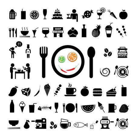 alimentos y bebidas: comida y bebida icono en el fondo blanco