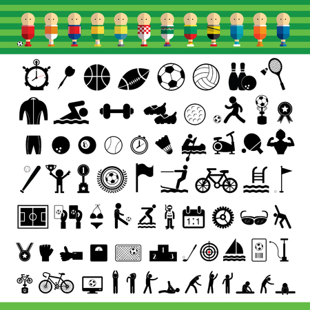 volleyball player: basic vector sports icon set