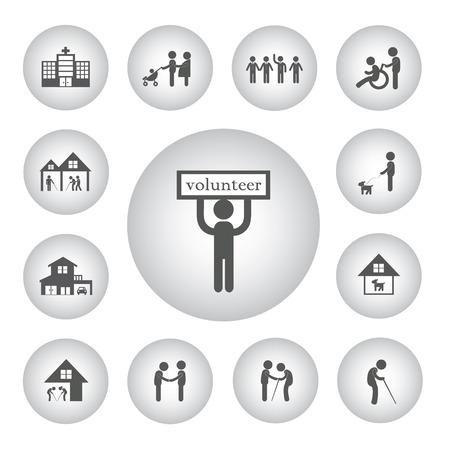 Vektor-Grundsymbol Freiwilliger Für Non-Profit-Sozialdienst ...