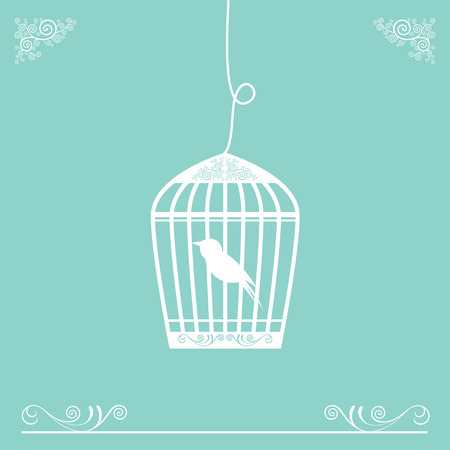 birdcage: vector cute birdcage vintage design Illustration