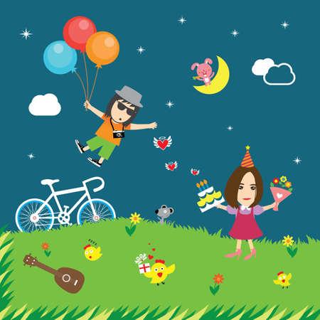 birthday party: vector happy birthday card cute cartoon Illustration