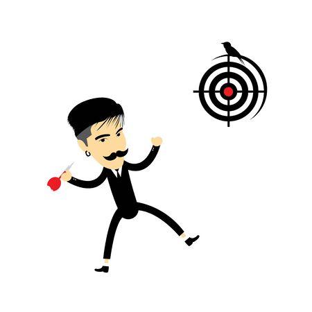 creative shot: I have got target vector cartoon Illustration