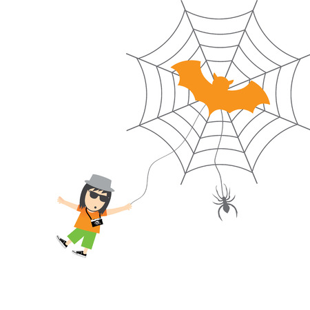 dangerous man: spider and man vector cartoon card for halloween day