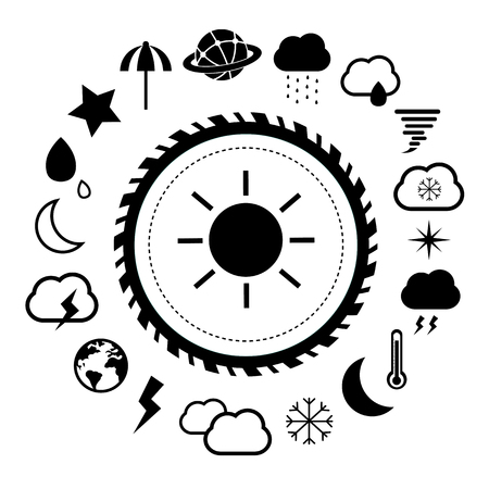 sonne mond und sterne: vector basic icon for weather
