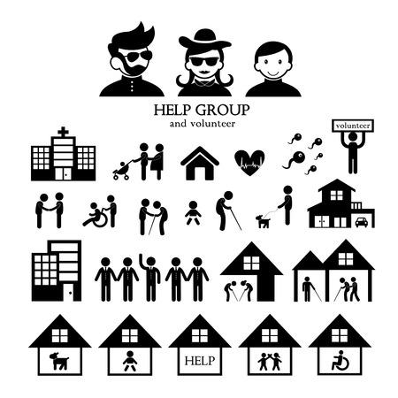 fundraiser: volunteer for non profit social service symbol set Stock Photo