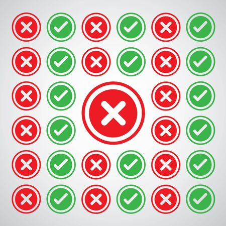 reject: vector approve and reject icon set