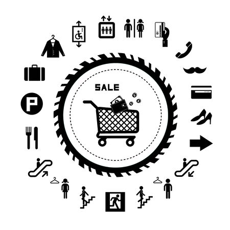 emerging market: shopping mall vector icons set