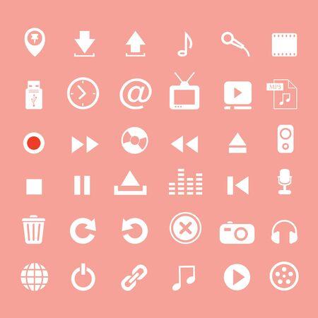volume: music button  icon set on pink background