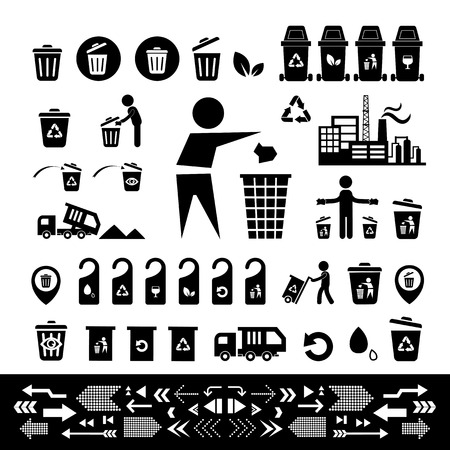 black plastic garbage bag: recycling bin icon set  on white  background