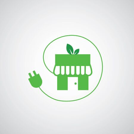 plug adapter: green home power efficiency vector icon Illustration
