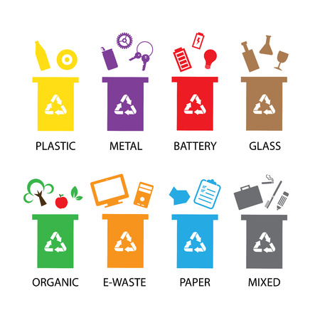 vector trash categories recycle garbage bin