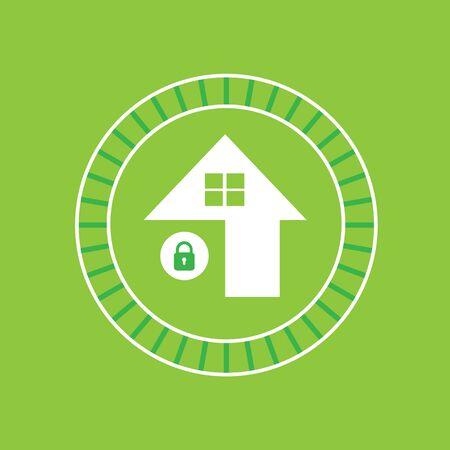 lock symbol: vector lock green house symbol
