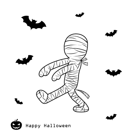 mummified: mummy halloween day vector cartoon