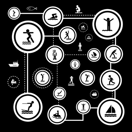 rower: water sport vector icon set Illustration