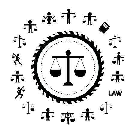 acquittal: scales justice icon vector set