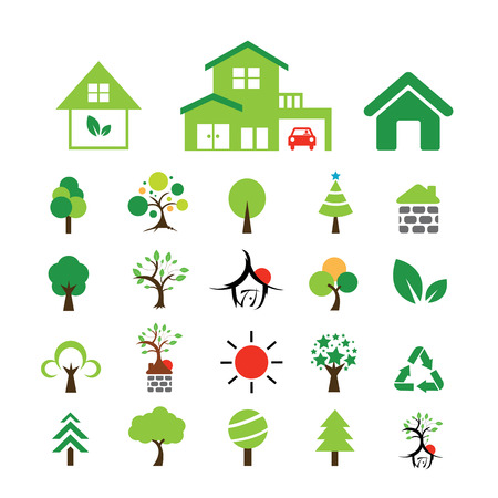 forest wood: vector house and tree symbol set Illustration
