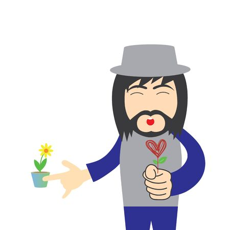 vector cartoon hipster man with red heart flower Illustration
