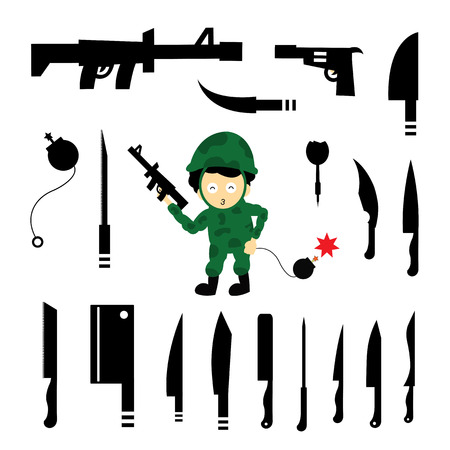 weapons: vector soldier and weapons symbol Illustration