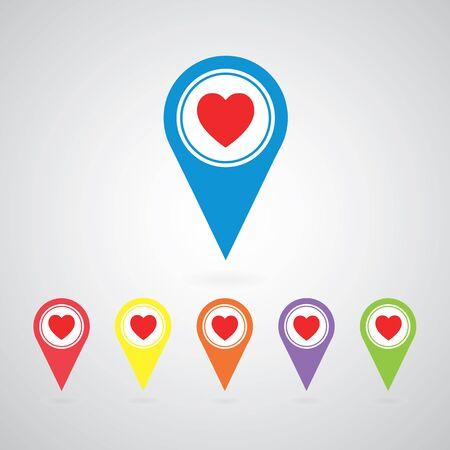 vector heart  pointer icon set Illustration