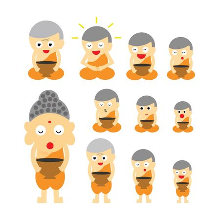 vector buddhist monk  action  cartoon Illustration