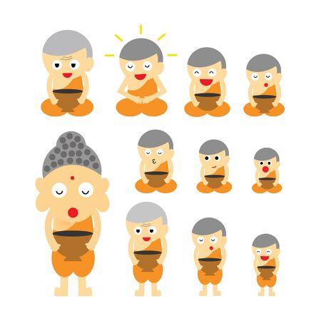 alms: vector buddhist monk  action  cartoon Illustration