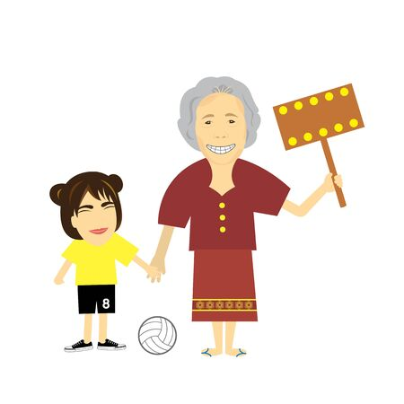 granddaughter and grandmother character vector cartoon