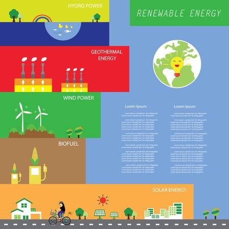 Info chart renewable energy bio-green ecology vector.