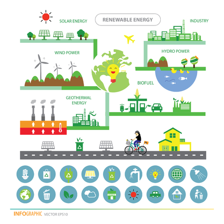 hydroelectric: vector info chart renewable energy biogreen ecology Illustration