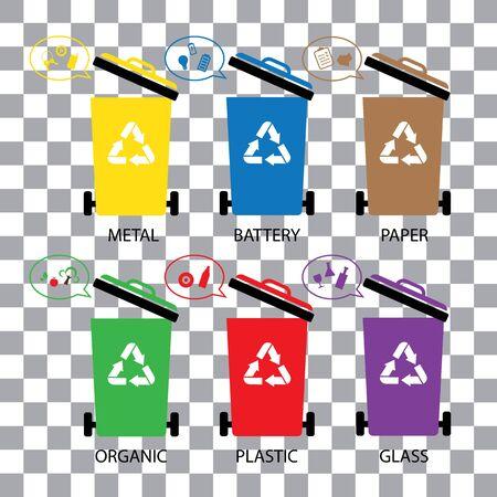 Trash categories recycle garbage bin vector. Illustration