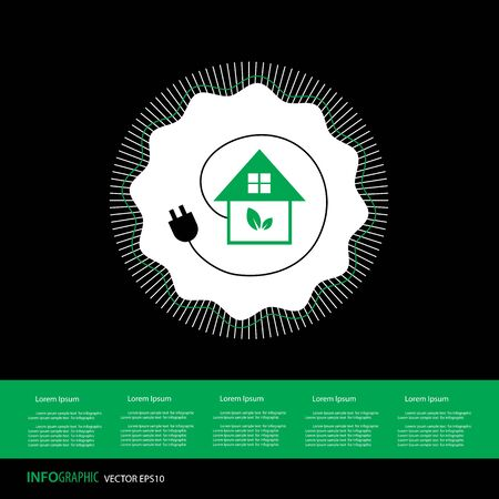 Green home power efficiency icon vector illustration.