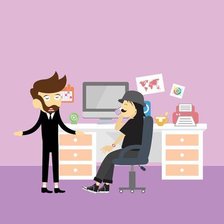 Style de dessin animé de vecteur business management réunion d'affaires de bureau Banque d'images - 92174928