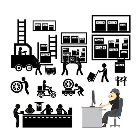 vector manufacturer and distributor icon for business system  Illustration
