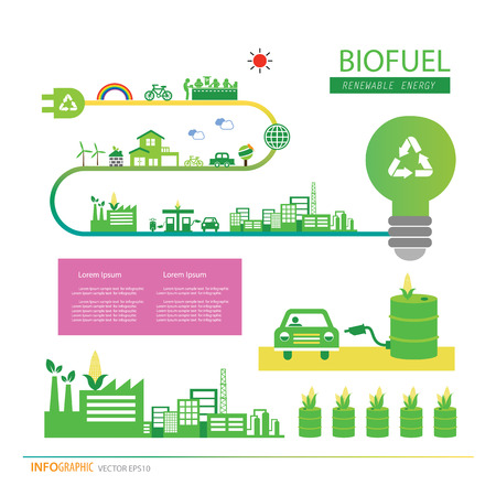 vector corn ethanol biofuel vector icon. Alternative environmental friendly fuel.  矢量图像