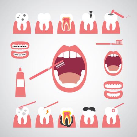 smile dental vector icon set