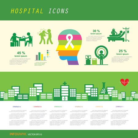 vector green hospital icon set