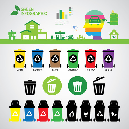 vector recycle bins symbol set