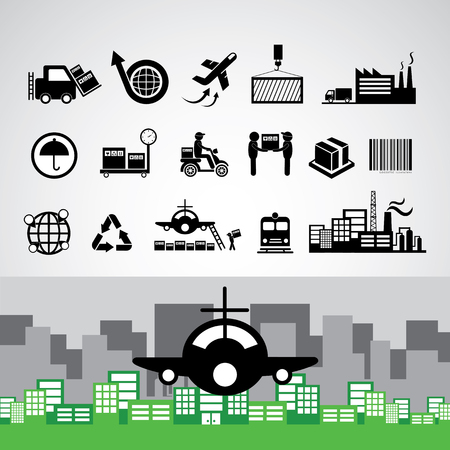 vector logistics export icon set 矢量图像