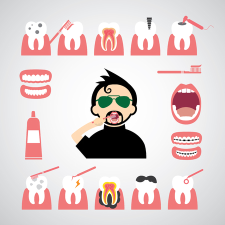 smile dental vector icon set