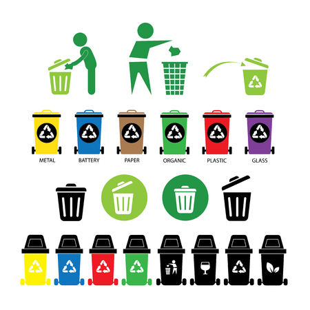 recycling bin icons set  on white  background