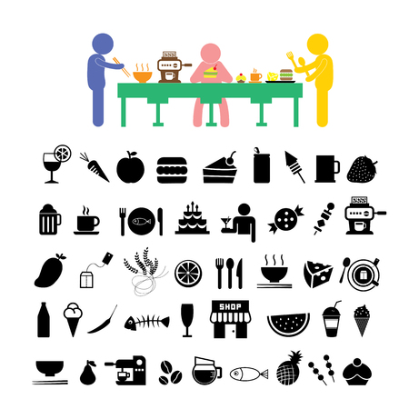 vector wheat and any food icon set