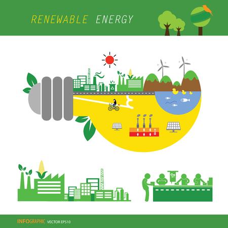 grafico informazioni vettoriali energia rinnovabile ecologia bioverde
