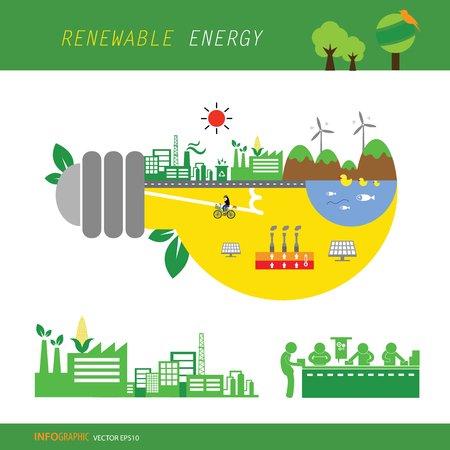 vector info chart renewable energy biogreen ecology Illustration