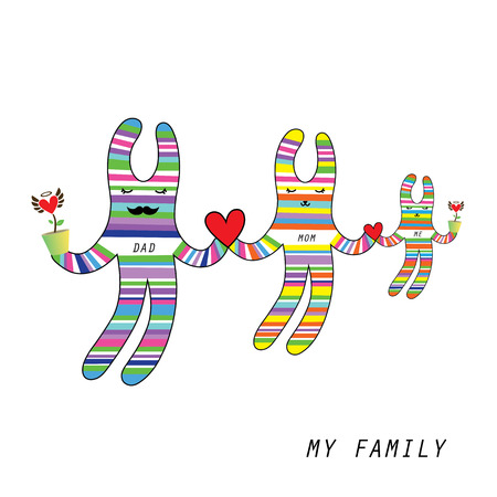 my family rabbit doll vector cartoon 矢量图像