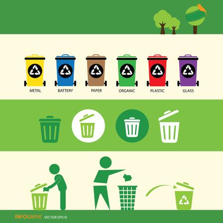 vector recycling bin icons set 矢量图像