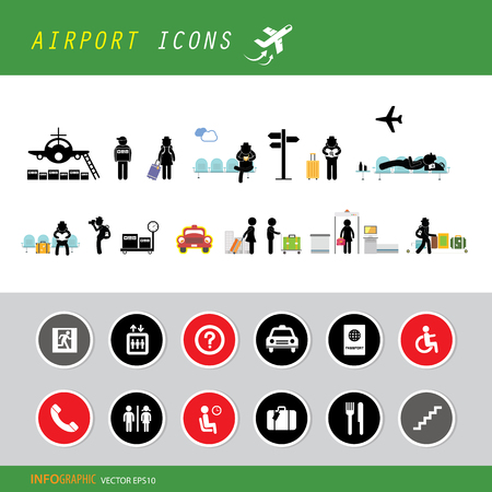 vector airport terminal icon set 矢量图像